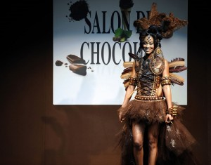 A model presents a dress made from chocolate during the second Bordeaux's Chocolate fair (Salon du Chocolat) on March 15, 2013, in Bordeaux, western France. AFP PHOTO / JEAN PIERRE MULLERJEAN-PIERRE MULLER/AFP/Getty Images ORG XMIT: FRANCE-FA